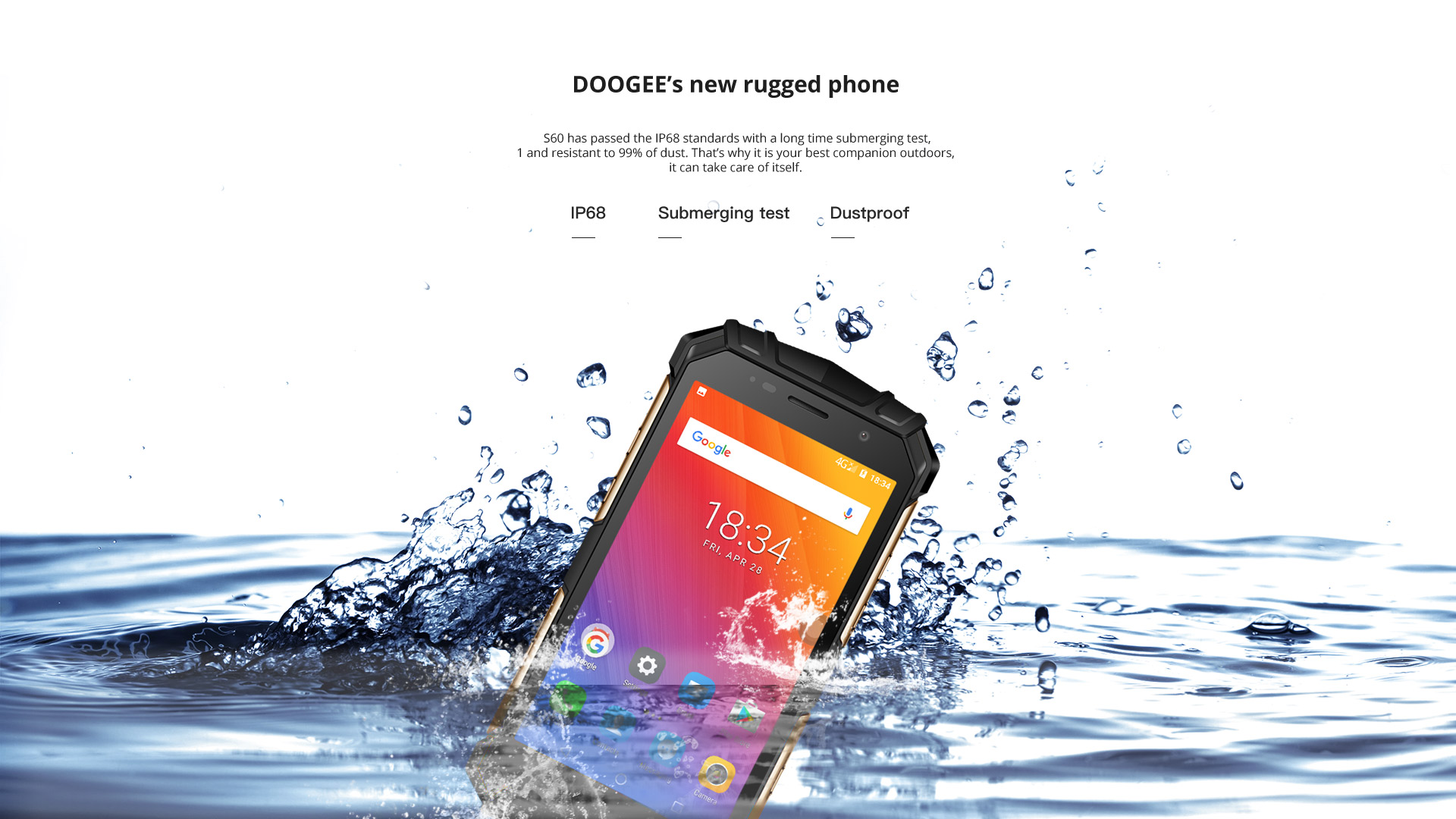 DOOGEE S60 4G Smartphone 5.2 Inch IP68 Waterproof 12V 2A Quick Charge Octa Core 6GB RAM 64GB ROM Wireless Charging NFC