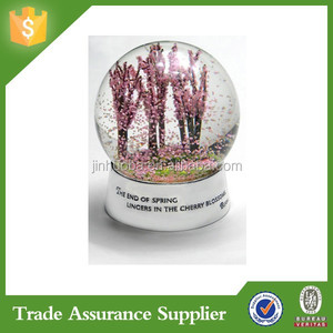 Resin Cherry Blossom Flower Water Globe
