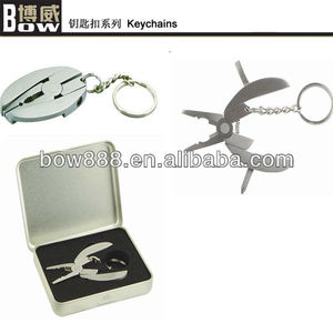 Mini metal plier tool kit keychain