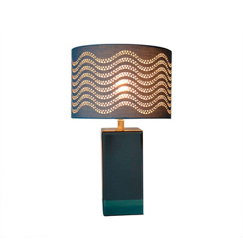 Modern style blue laser cut fabric lampshade solid mirror glass base hotel table lamp
