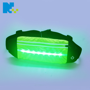 LED USB rechargeable reflective running belt waterproof freerunning reflective waist pack phone holder