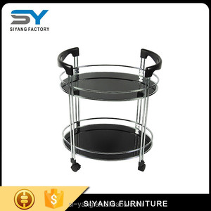 Glass price dining serving trolley cart with high quality