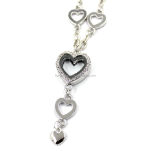 New Clear Heart to Heart Glass Locket Diamond Pendants With Chain