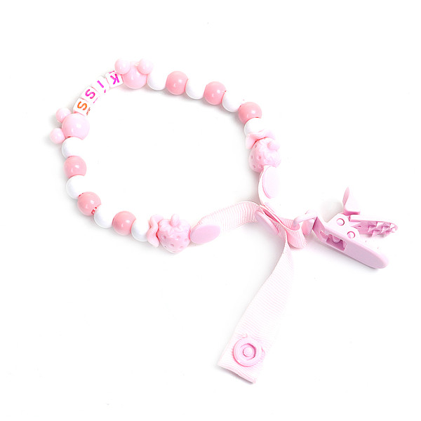 "Acrylic & Plastic Baby Pacifier Clip Bear Animal Light Pink Strawberries 37cm(14 5/8""), 1 Piece"