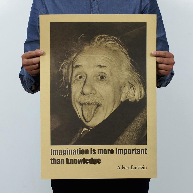 Hot sale 51*35.5cm Imagination is more important than knowledge Albert Einstein posters inspirational Home Decoration
