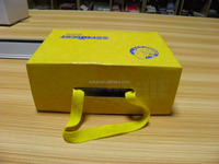 high quality custom cardboard yellow paper packaging box for shoes with a string supplier in China