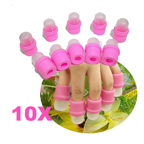 10Pcs Rubber Plastic Artificial Salon DIY Wearable Nail Art UV Soaker Remover Polish Cap Tool Tips