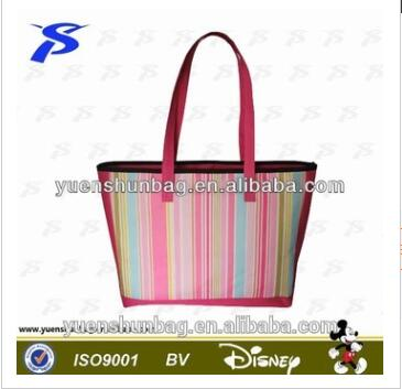Stripe printed top zipper closure aluminum foil Thermal Cooler Lunch Bag