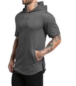 Men's Short Sleeve Active Longline Tee Casual Hooded T Shirts At Factory Price