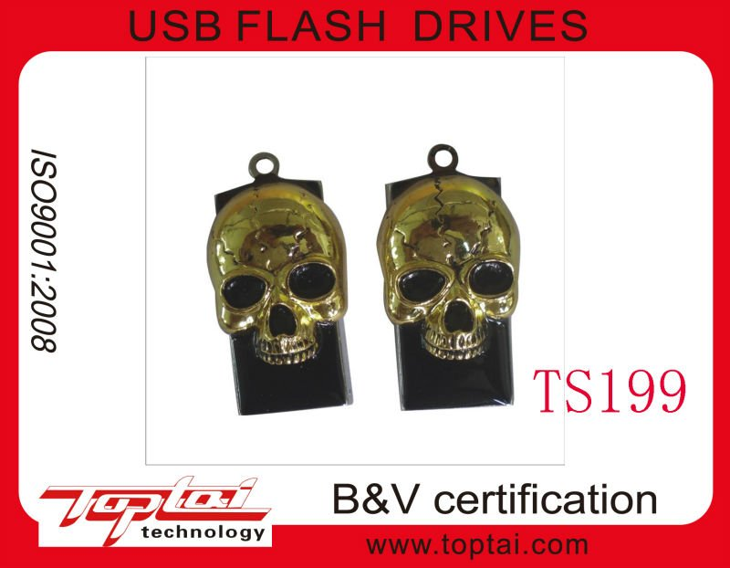 novelty cool shape skull necklace metal 1gb 2gb 4gb 8gb 16gb usb 2.0 flash drive/drives for Halloween gift