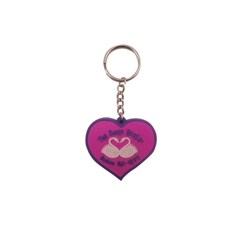 Best promotion small heart soft pvc key chain ring