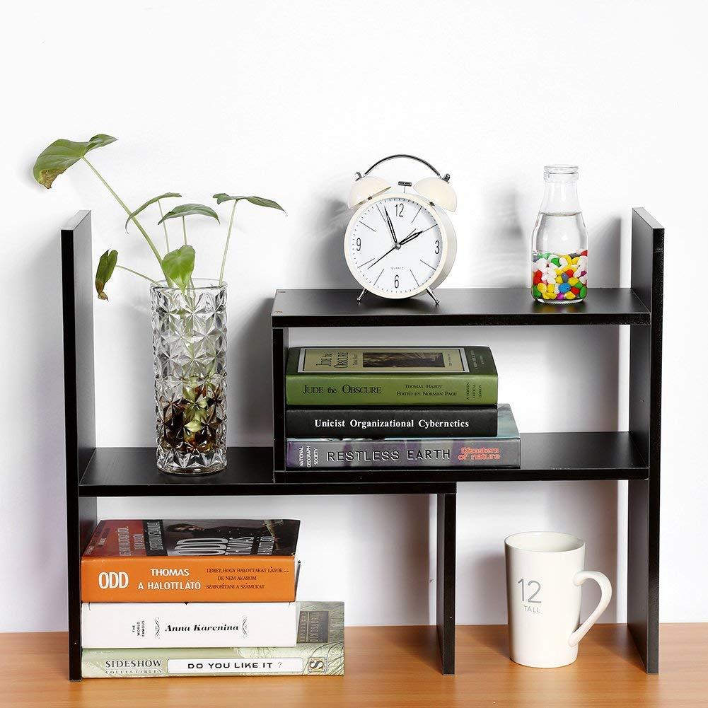 Desktop Storage Rack, DIY Particle Board Table Desktop Storage Rack Display Shelf Organizer Counter Top Bookcase Office Supply Holder,Black