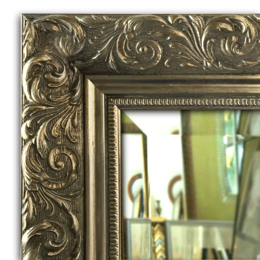 "West Frames Bella Ornate Embossed Antique Silver Gilt Framed Wall Mirror (34.25"" x 52.25"")"