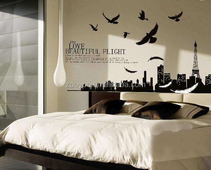 ZOOYOO wallpaper flying birds wall decal black vinyl wallpaper wall kitchen tile stickers custom stickers and decals