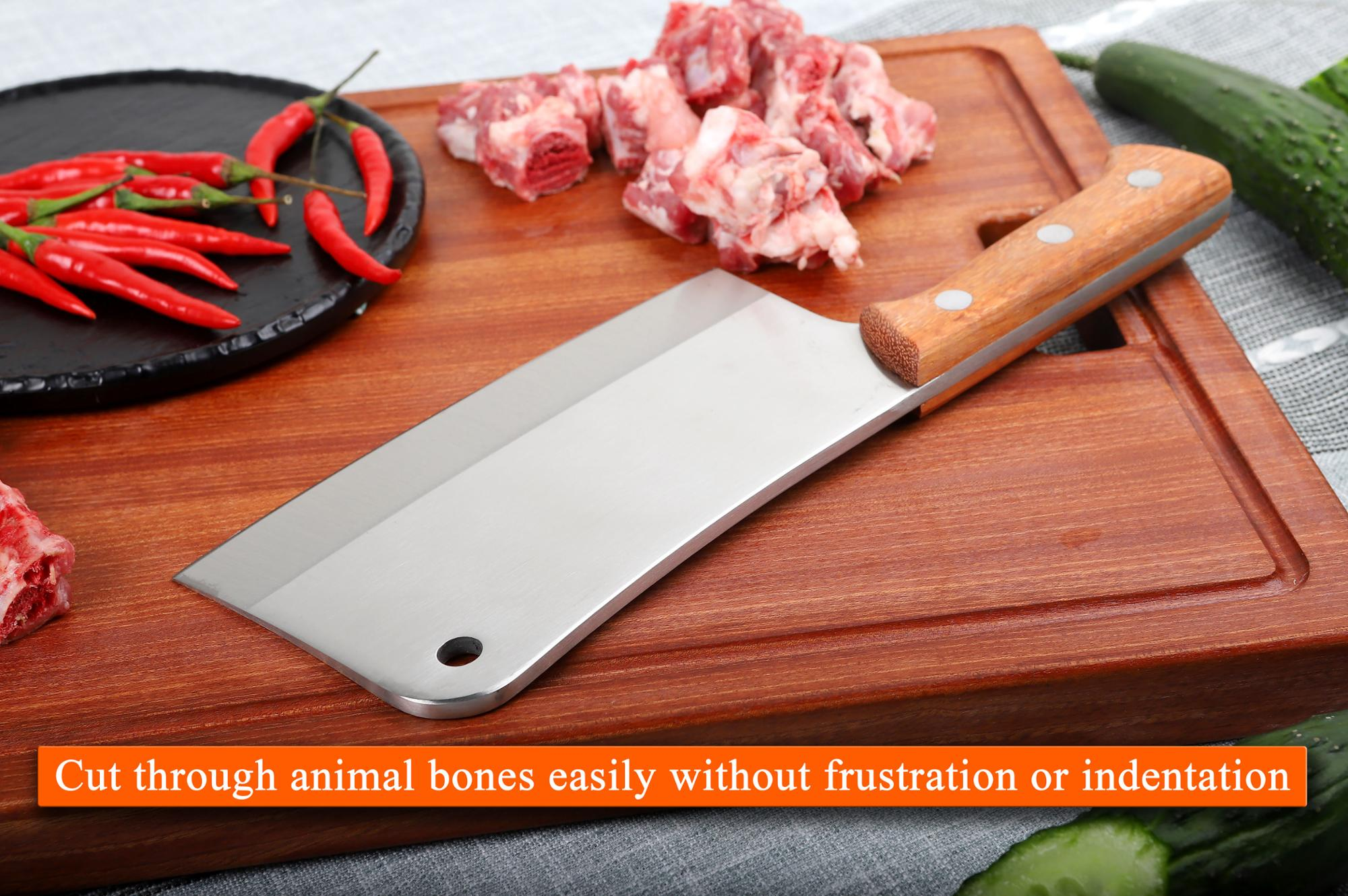 Forged Wooded Handle Heavy Duty Meat Cleaver for Bone