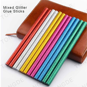 Glitter hot melt glue stick multi colors 7mmX200mm mini colorful glue stick ready to ship