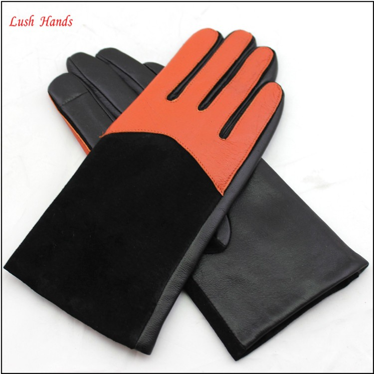 Ladies genuine winter leather hand gloves industrial leather hand gloves