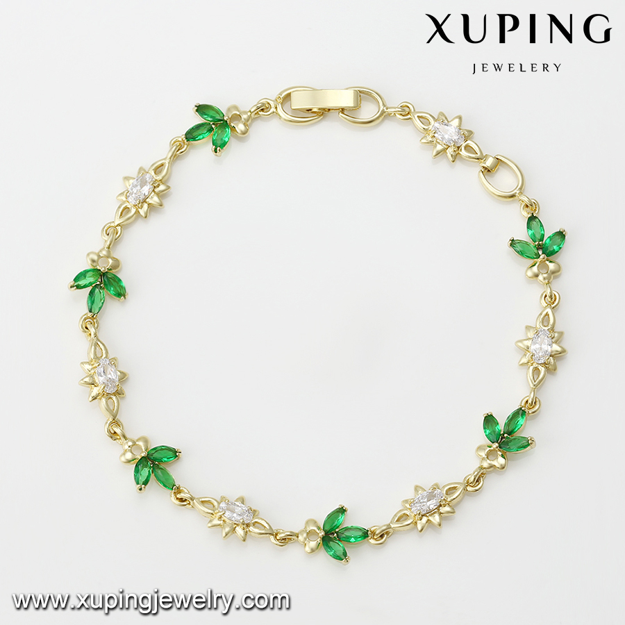 74895 Wholesale fashion lady jewelry fine quality 14k gold plated bracelet with color stone