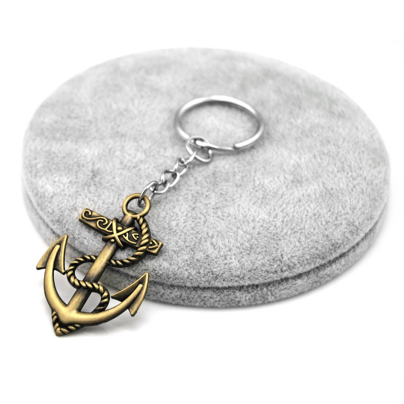 Wholesale Retro Silver Anchor Man Keychain Novel Anchor Key Ring Promotional Souvenir Anchor Key Holder