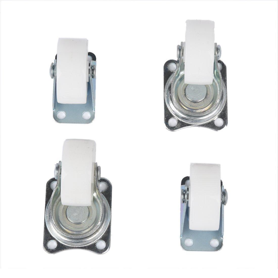 "TOOGOO(R) 1.5"" White Wheel Silver Tone Metal Top Plate Fixed Swivel Caster Set 4 Pcs"