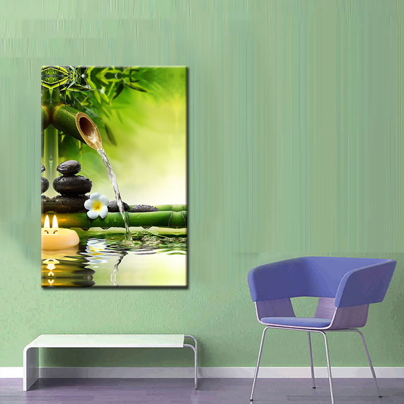 1 Piece Bamboo Painting On Wall Feng Shui Canvas Painting