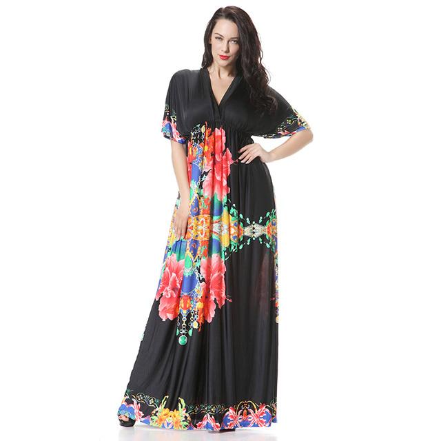 60cefa05244 2016 нью-лонг макси женщины одеваются Vestidos 6XL женский Большой размер  летом 7xl платья большого