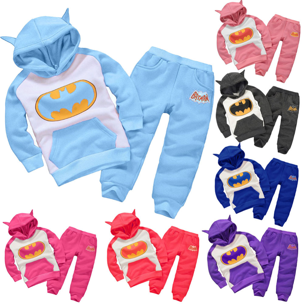 2c80b034 Baby Batman Clothing Set Children Sport Hoodies Pants Boys Girls Thicken  Winter Warm Clothes Outfits for 1-4Y Kids