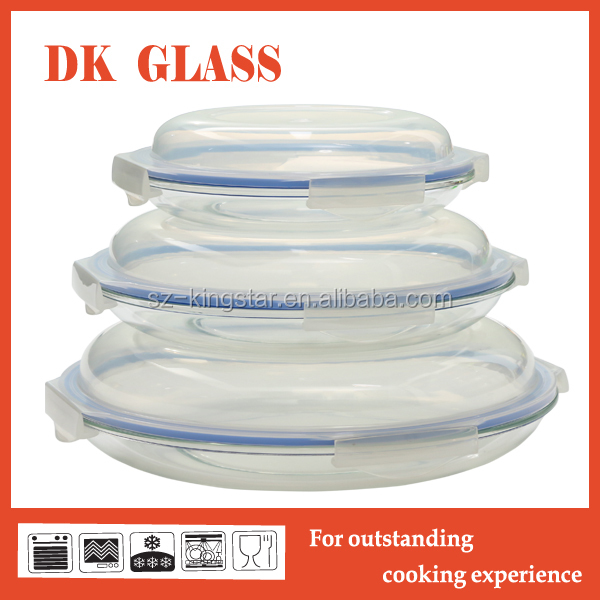 Round Glass Pie Platefood Storage With High Lid Microwave Oven Safe