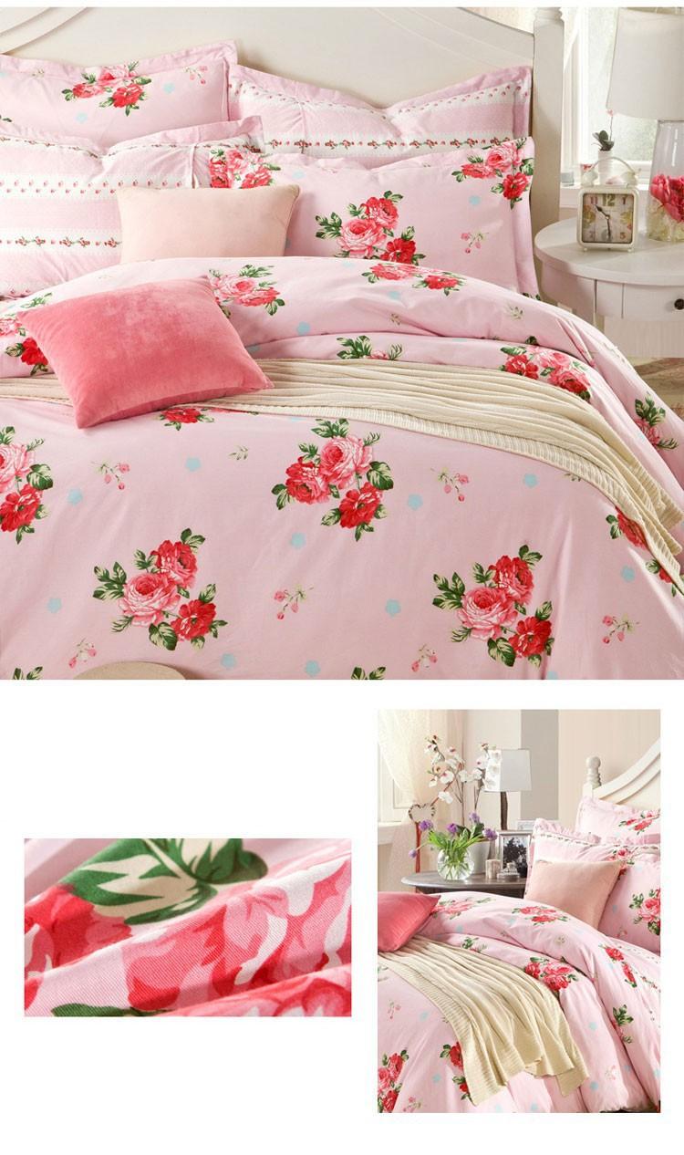 100 cotton bedding set chic floral bed linen bedding duvet cover bed sheet pillowcase full. Black Bedroom Furniture Sets. Home Design Ideas
