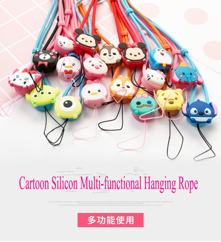 Fashion mobile phone accessory silicone hanging rope cellphone lanyard spring neck security strap