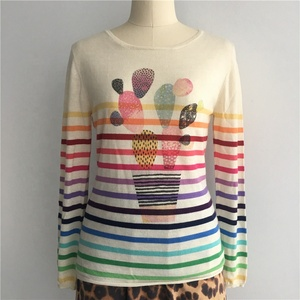 Women's High Fashion New Trend Personalized Cactus Design Digital Printed Rainbow Stripe Cashmere Pullover Sweater