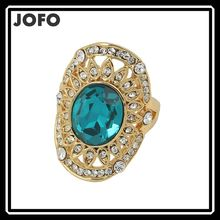 New Women Jewelry Water Drop Elegant Green Emerald Quartz Fashion Ring Wholesale