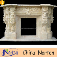 Royal french surround lion head fireplace mantel NTMF-F736A