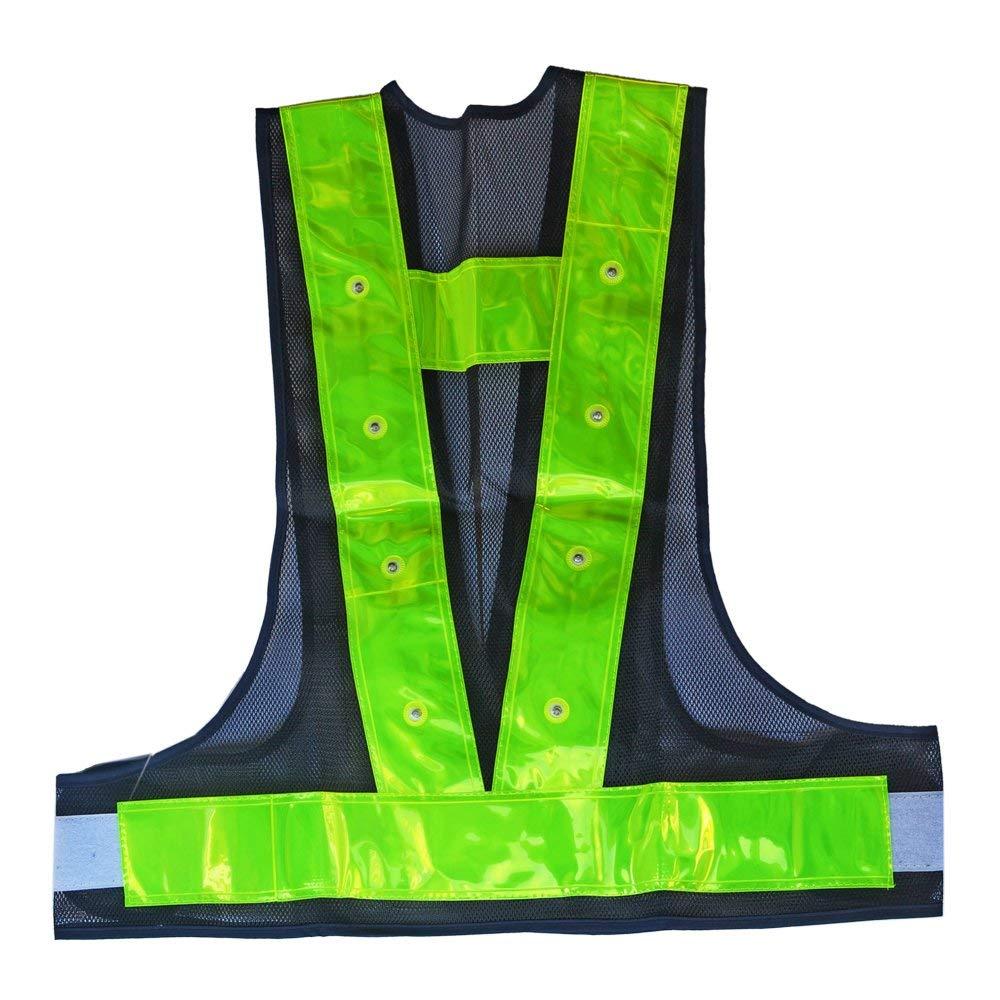VIZPET Reflective Running Vest Led Safety Vest with Adjustable Waist /& Large Pocket Night Light High Visibility for Jogging Biking Motorcycle Walking