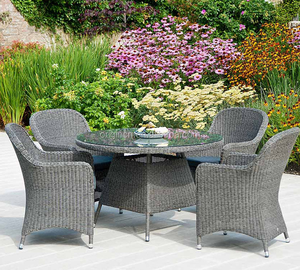 Fancy outside round dining table and chair set outdoor grey plastic rattan saharanpur furniture