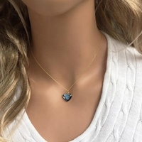 Crystal Heart Pendant Aquamarine March Birthday Gift Jewelry Birthstone Blue Necklace Gift For Her