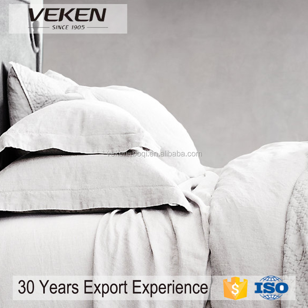 VEKEN products 100% ECO Pure Flax Linen QUEEN/ KING Bedding Set Natural Grey/Gray/Oatmeal Color