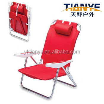 Ultra Light Aluminum Lounge Chair With Head Rest Folding Backpack Beach