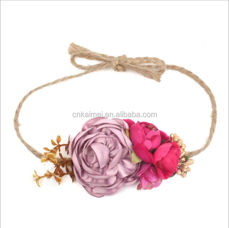 Bridal Ornaments Flower Crown Bridal Headband for Women Wedding Hairbands Bohemian Style Beach Floral Garland Hair Accessories