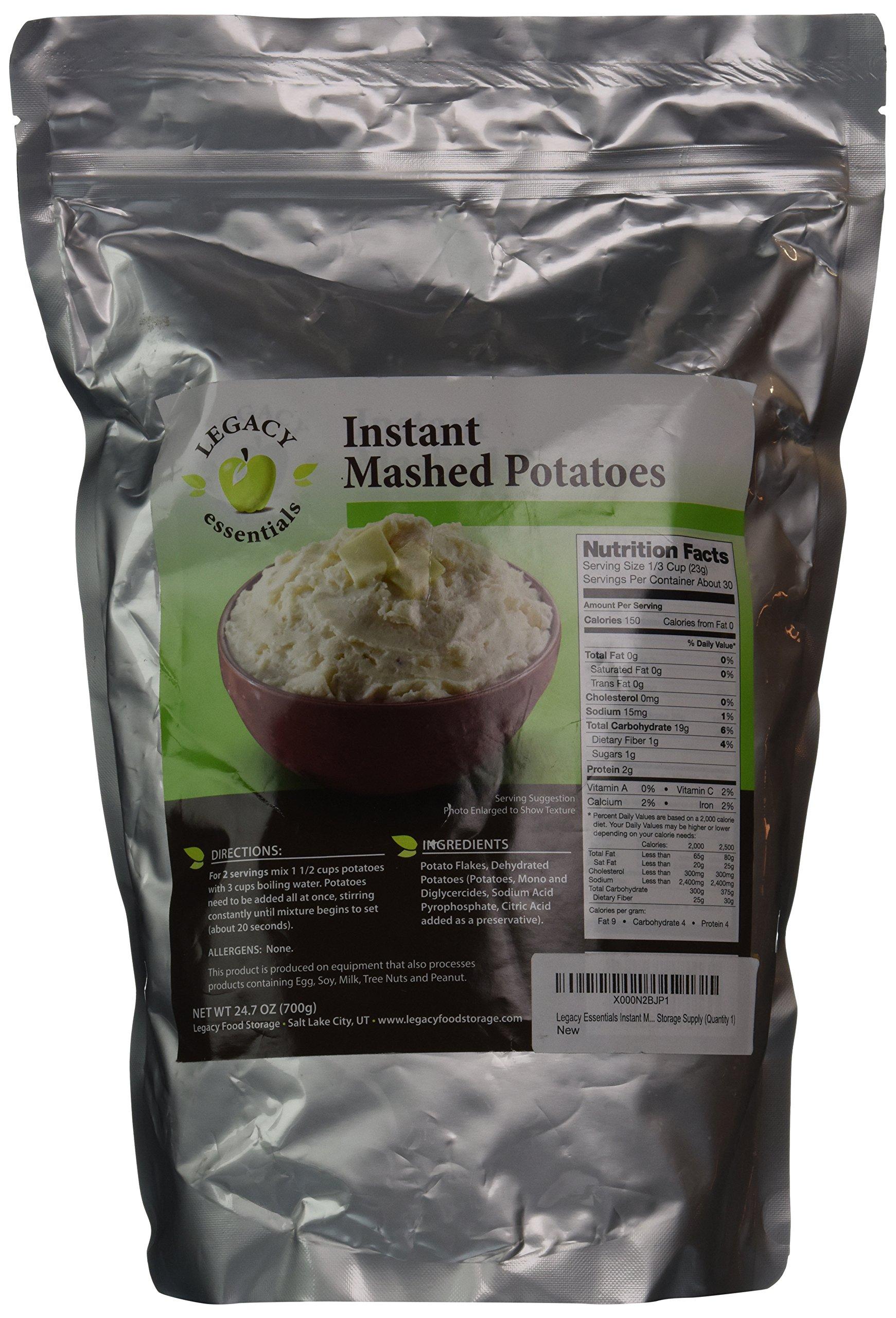 Legacy Essentials Instant Mashed Potato Flakes - 15 Year Shelf Life Freeze Dried Mash Potato for Emergency Food Storage Supply (Quantity 1)