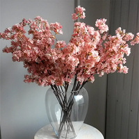 Hot sale artificial flower single silk cherry blossoms flower branches