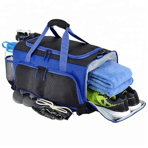 Custom large capacity nylon mens duffle sport gym bag with shoe compartment