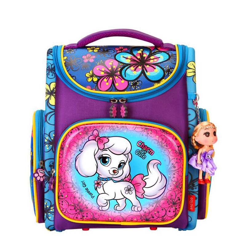 Custom new fashion black color school orthopedic football 3D printing cartoon kids backpack for primary school