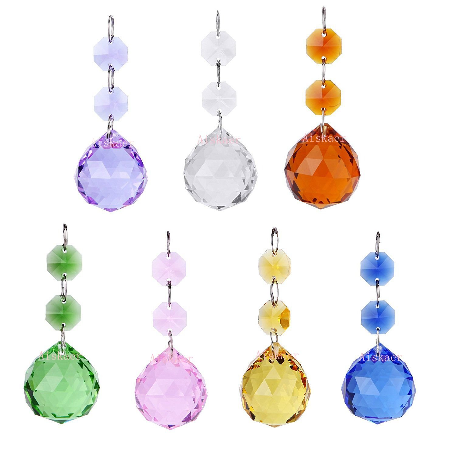 Aiskaer 1.2 Inch 7Pcs Colorful Crystal Ornament Ball Drop Suncatcher Window Prisms,Chandelier Decor Hanging Prism Ornaments,Feng Shui Faceted Ball,golden Yellow,green,blue,purple,pink,dark Brown,clear