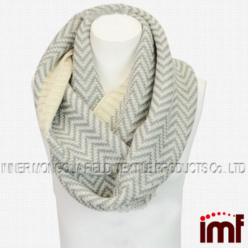 Striped Infinity Neck Scarf In Knit Pattern Crochet Circle Loop