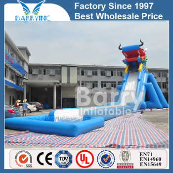 Crazy festival event blue dragon head giant inflatable water slide for adult