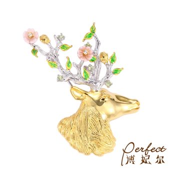 Shell Flower Animal Sika Deer 925 Sterling Silver with Yellow Gold Plated Brooch