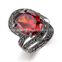 High quality cheap wedding cubic zirconia man ring with ruby