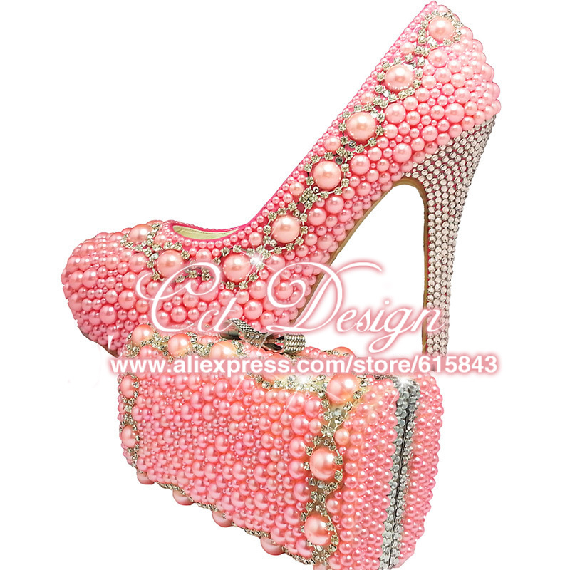 Something Pink Wedding Shoes Customized High Heels Platfrom Party Evening Shoes Pink Italian Shoes With Matching Bags