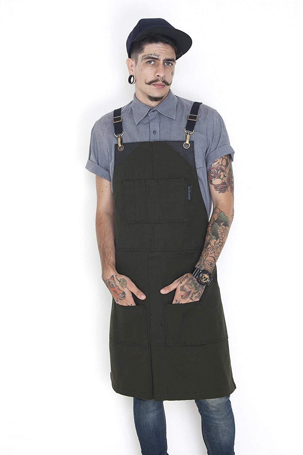 Cargo Dark Forest Apron – Cross-Back with Heavy-Duty Waxed Canvas, Leather Reinforcement and Split-Leg – Adjustable for Men and Women – Pro Woodworker, Mechanic, Welder, Artist Aprons
